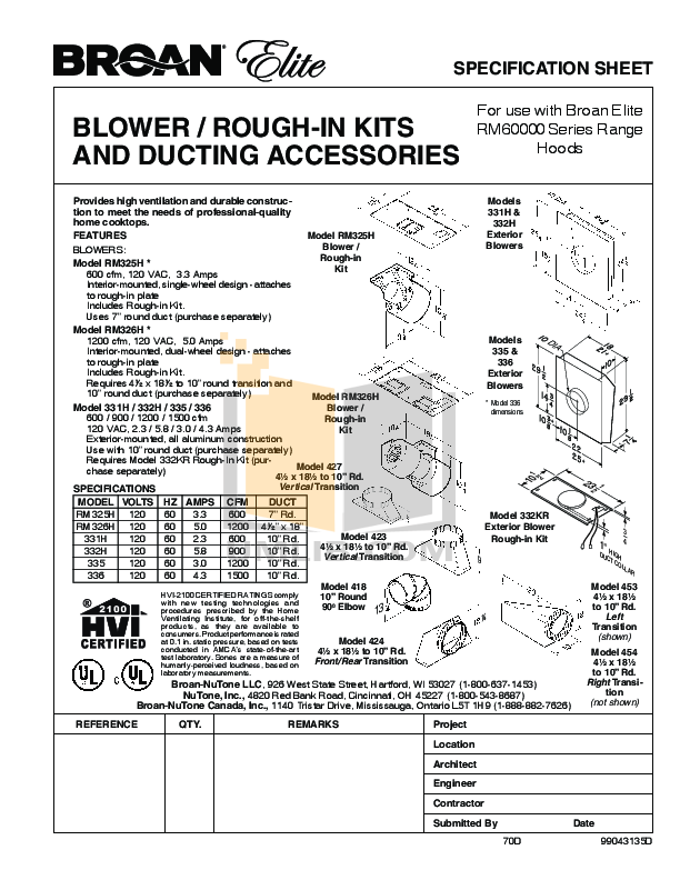 pdf for Broan-NuTone Other RM326H Exterior Blowers manual