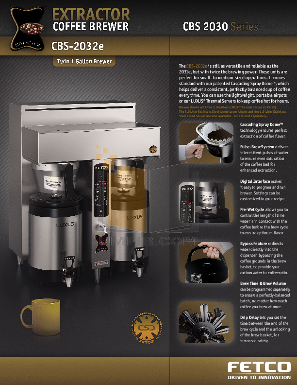 Fetco Coffee Brewer Manual Cbs 2052e : Download free pdf for Fetco CBS-2032e Coffee Maker manual