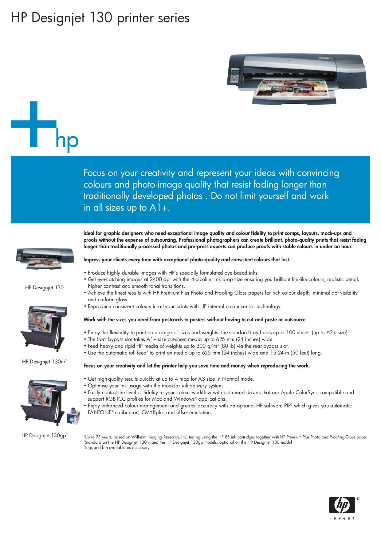 pdf for HP Printer Designjet 130nr manual