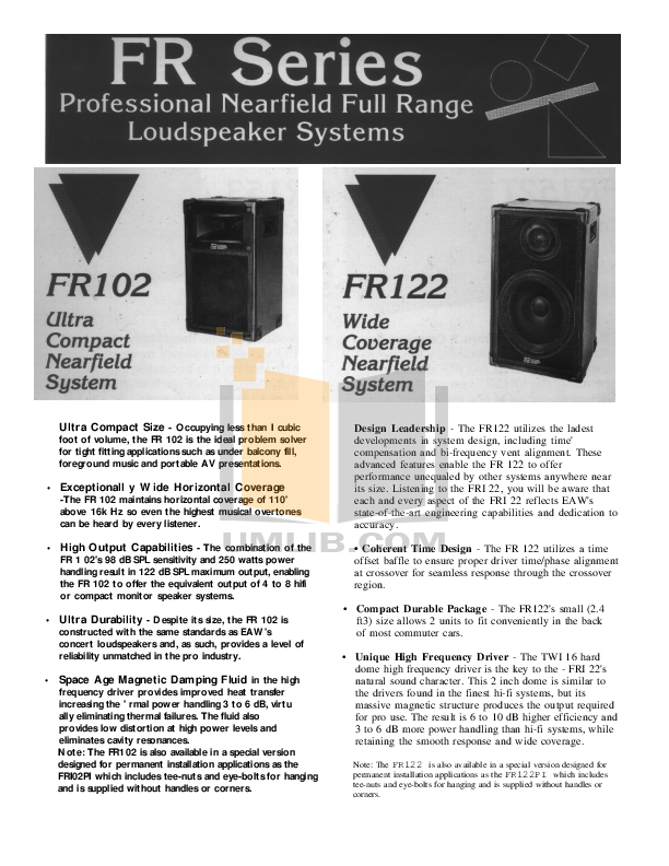 pdf for Eaw Speaker System FR122 manual