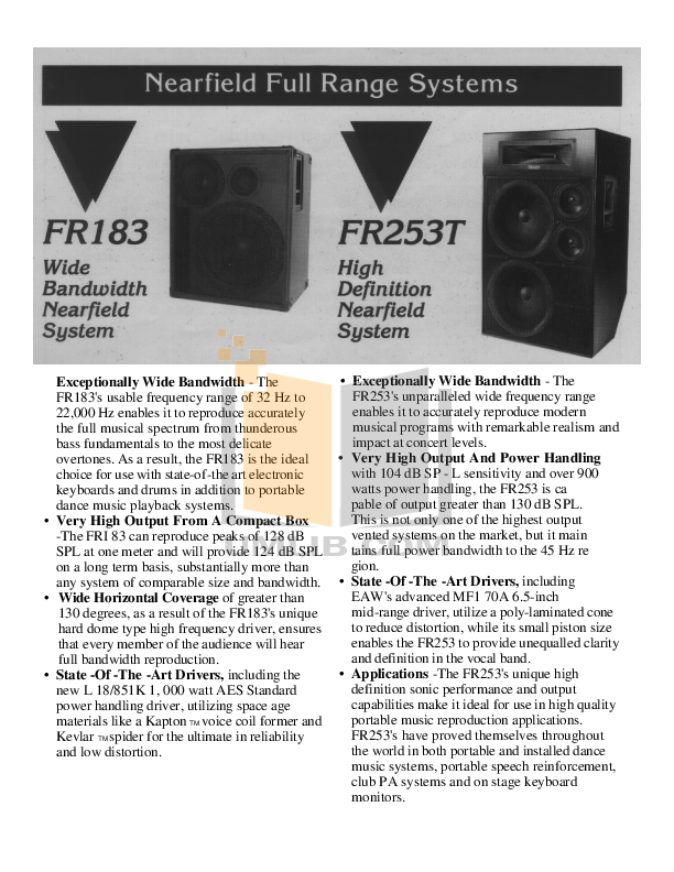 Eaw Speaker System FR122 pdf page preview