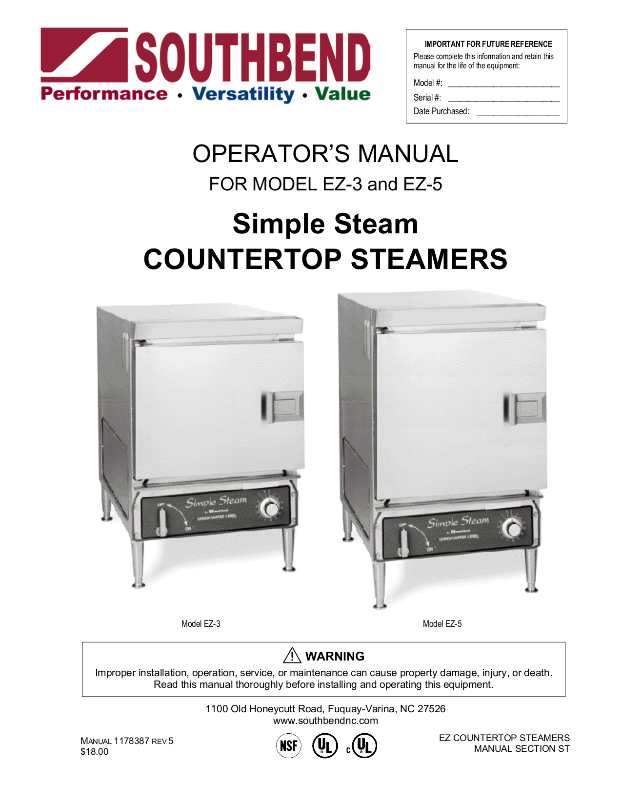 pdf for Southbend Other EZ-5 Steamers manual