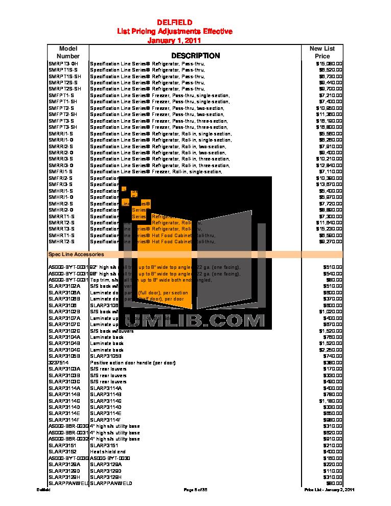 Delfield Refrigerator SARRI1-G pdf page preview