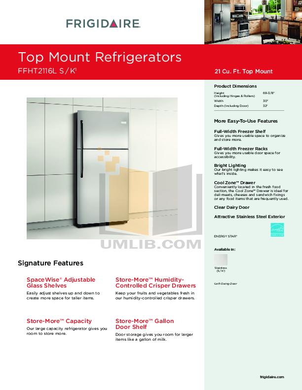 pdf for Frigidaire Refrigerator FFHT2116L manual