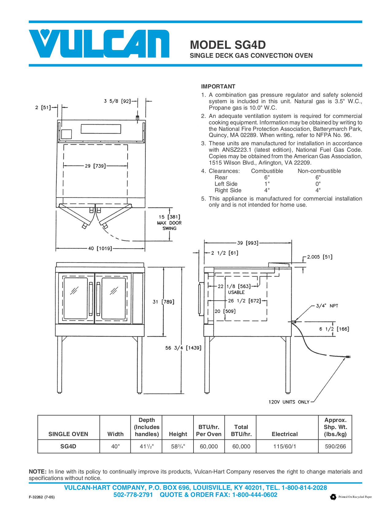 Vulcan Oven SG4D pdf page preview