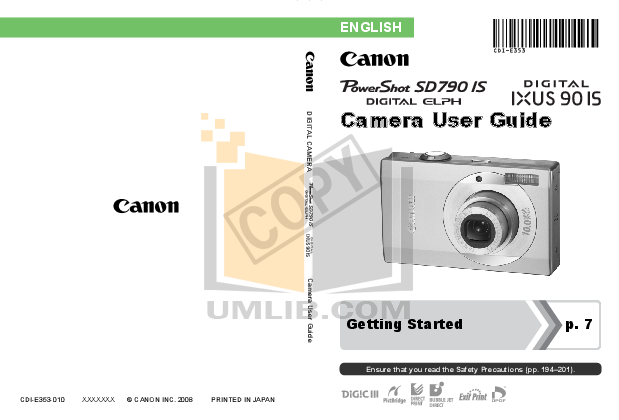 pdf for Canon Digital Camera Powershot SD790 IS manual