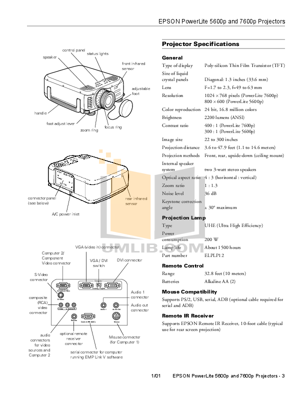 pdf for Epson Projector PowerLite 5600p manual