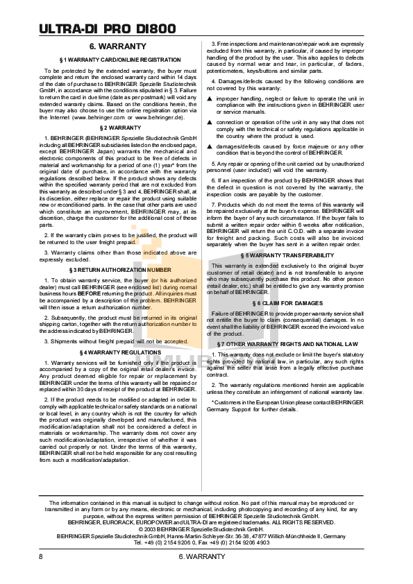 PDF manual for Behringer Other Ultra-DI DI800 Direct Box