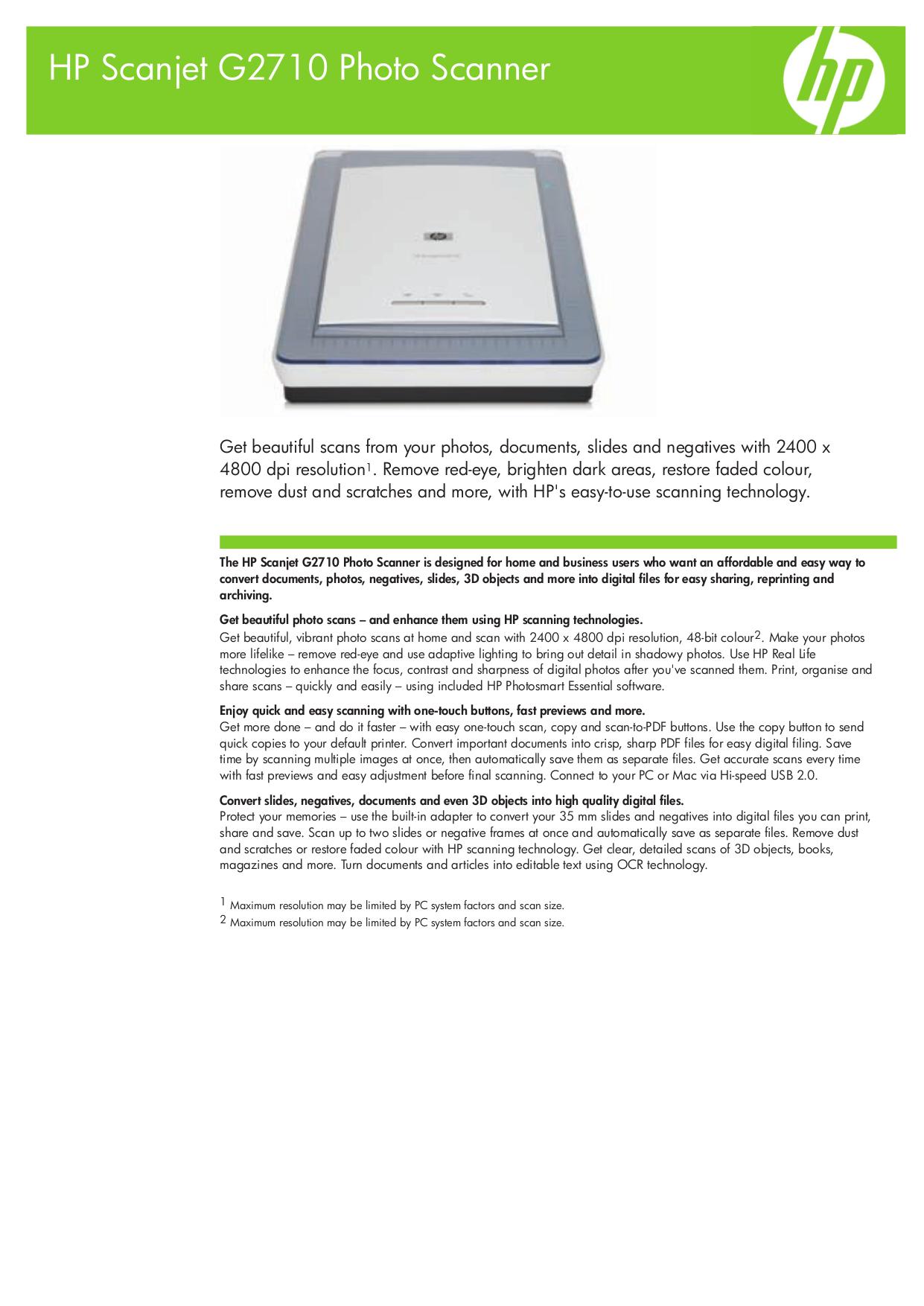 Download free pdf for HP Scanjet G2710 Scanner manual