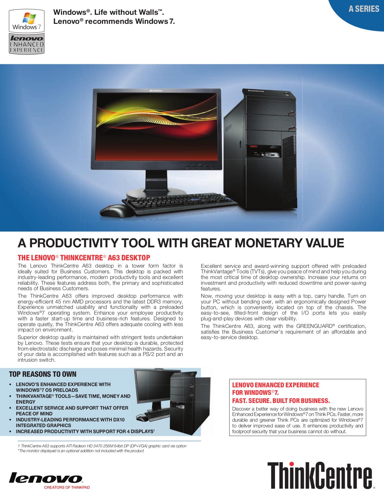 pdf for Lenovo Desktop ThinkCentre A63 5393 manual