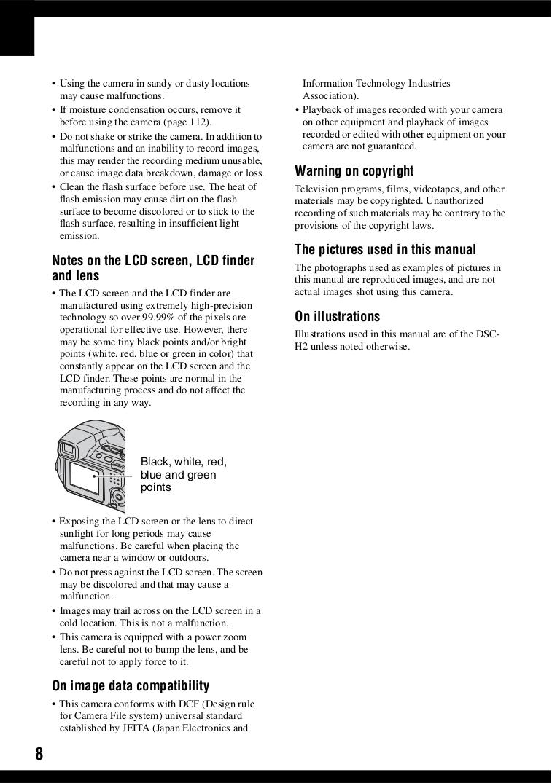 ... Sony Digital Camera Cybershot,Cyber-shot DSC-H2 pdf page preview