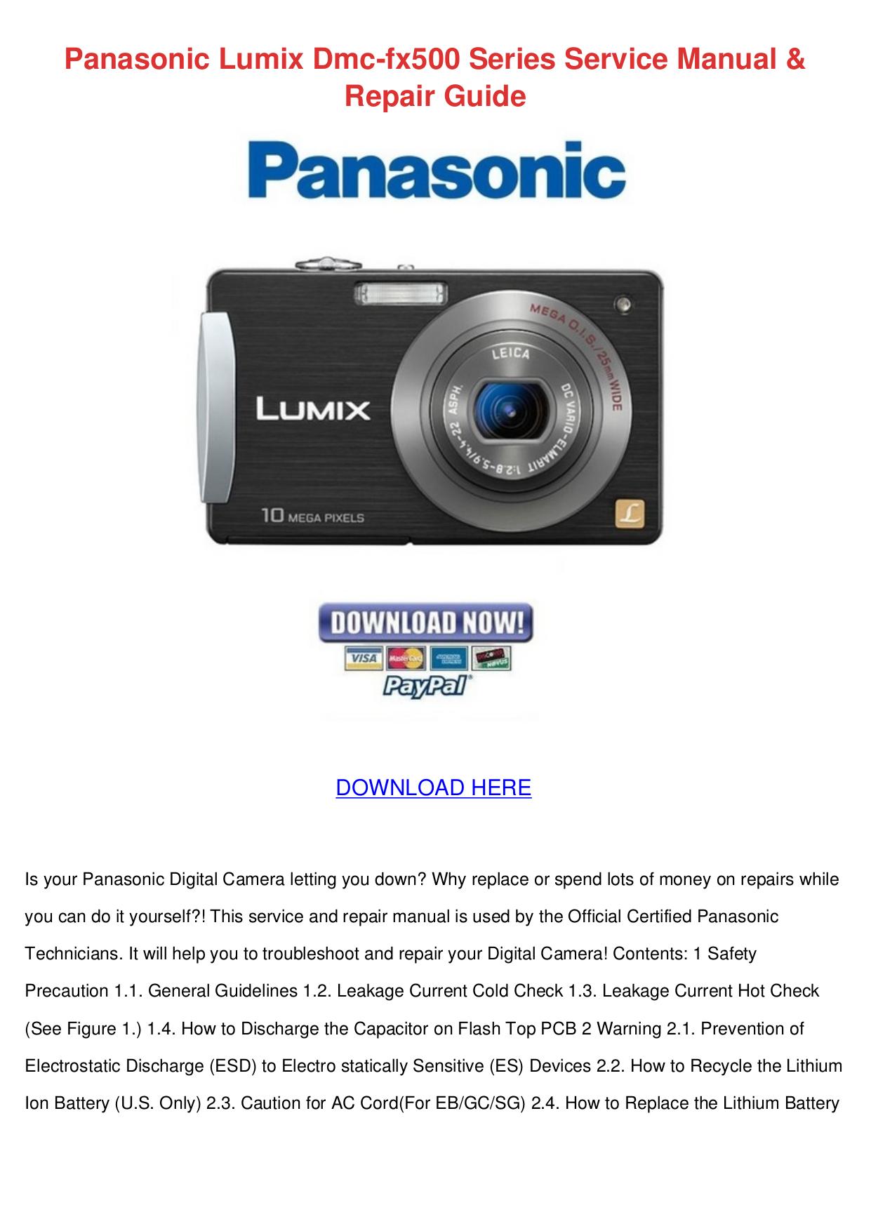 Panasonic lumix dmc-fx500 digital camera user manual(pdf.