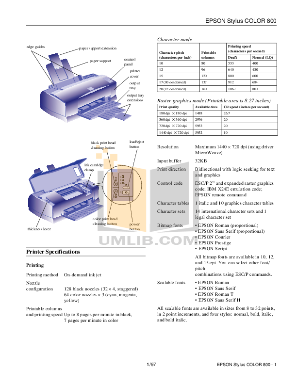 pdf for Epson Printer Stylus Color 800N manual