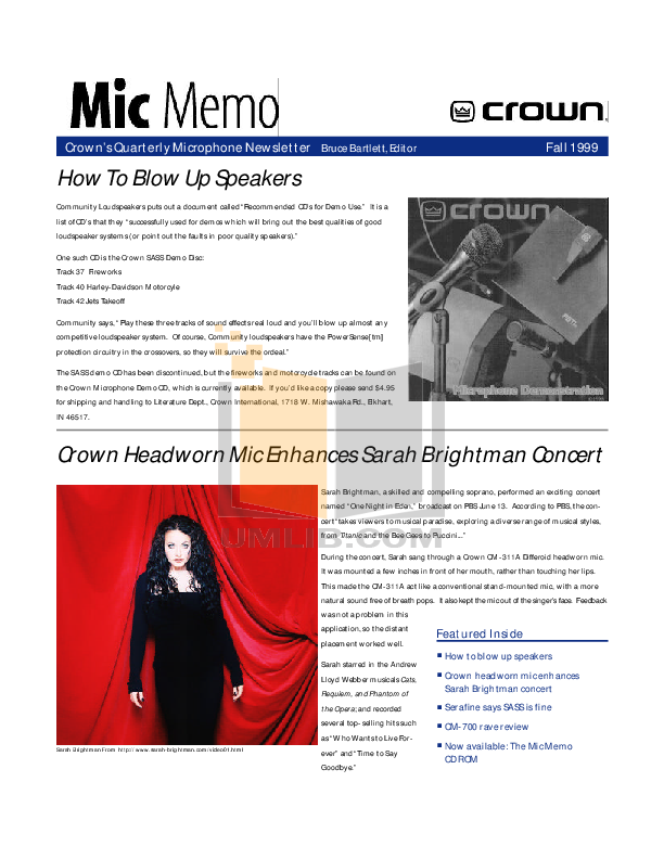 pdf for Crown Other CM-10 Microphones manual