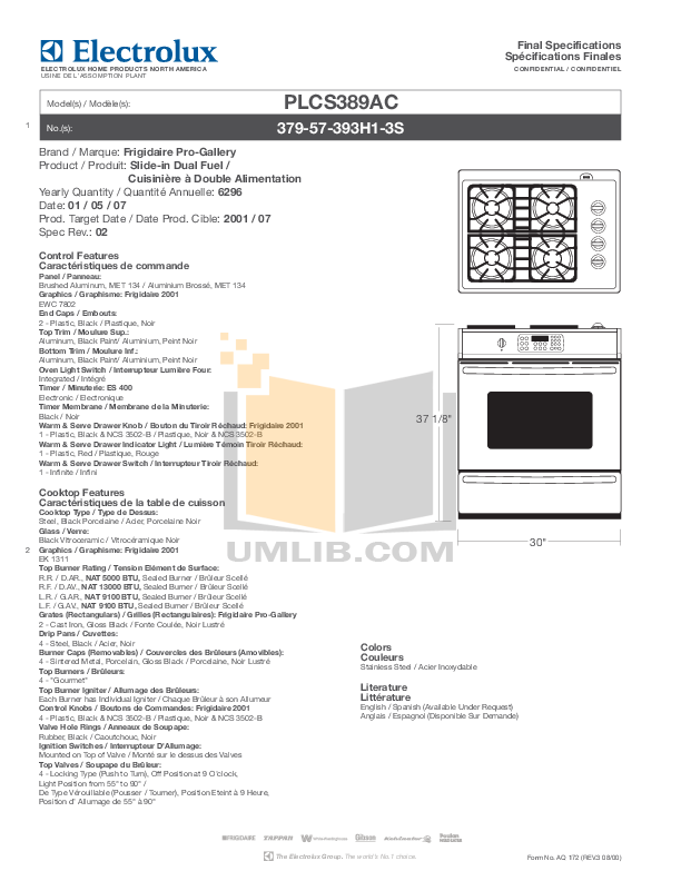 pdf for Frigidaire Range PLCS389AC manual