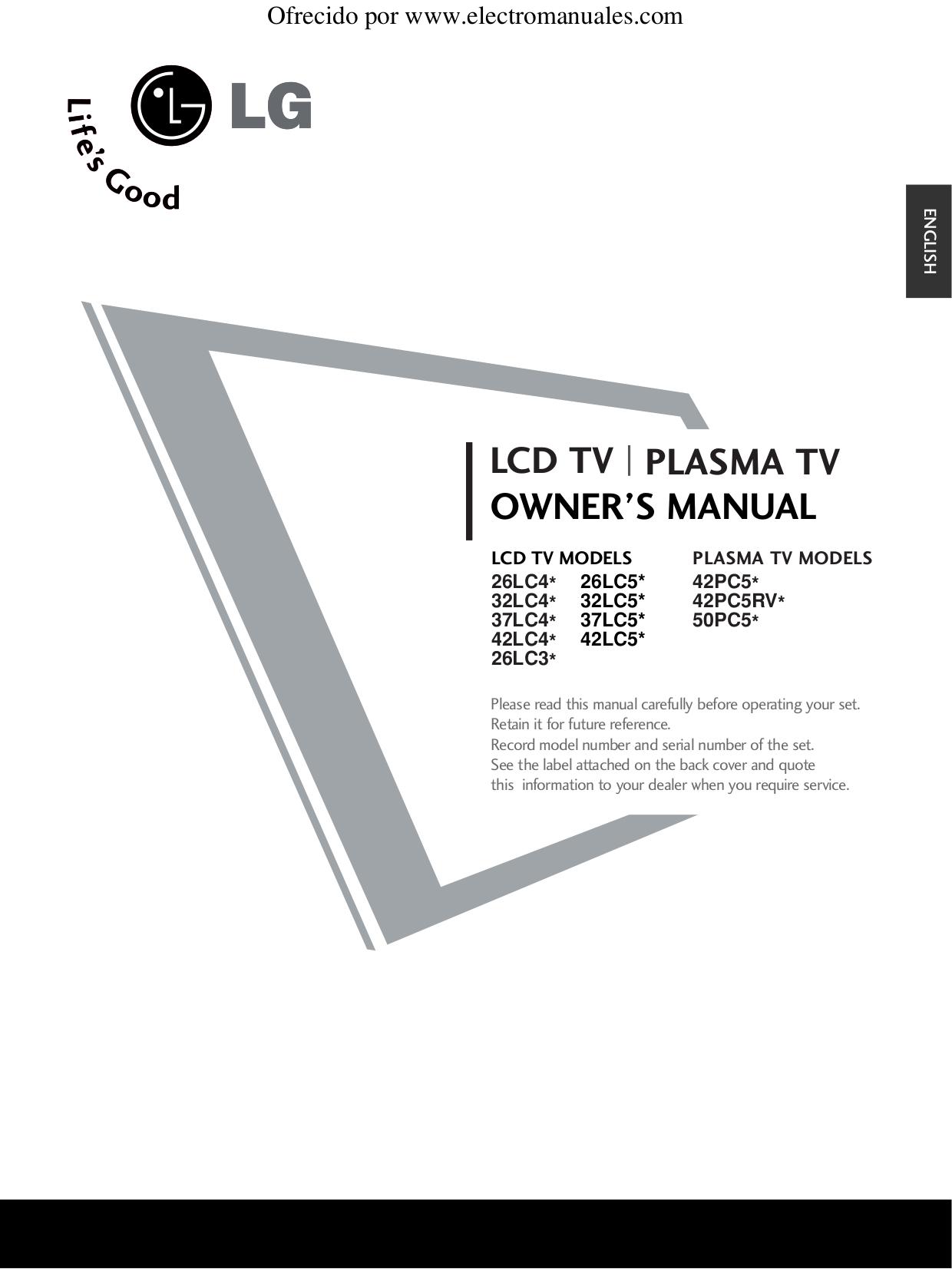 pdf for LG TV 32LC52 manual