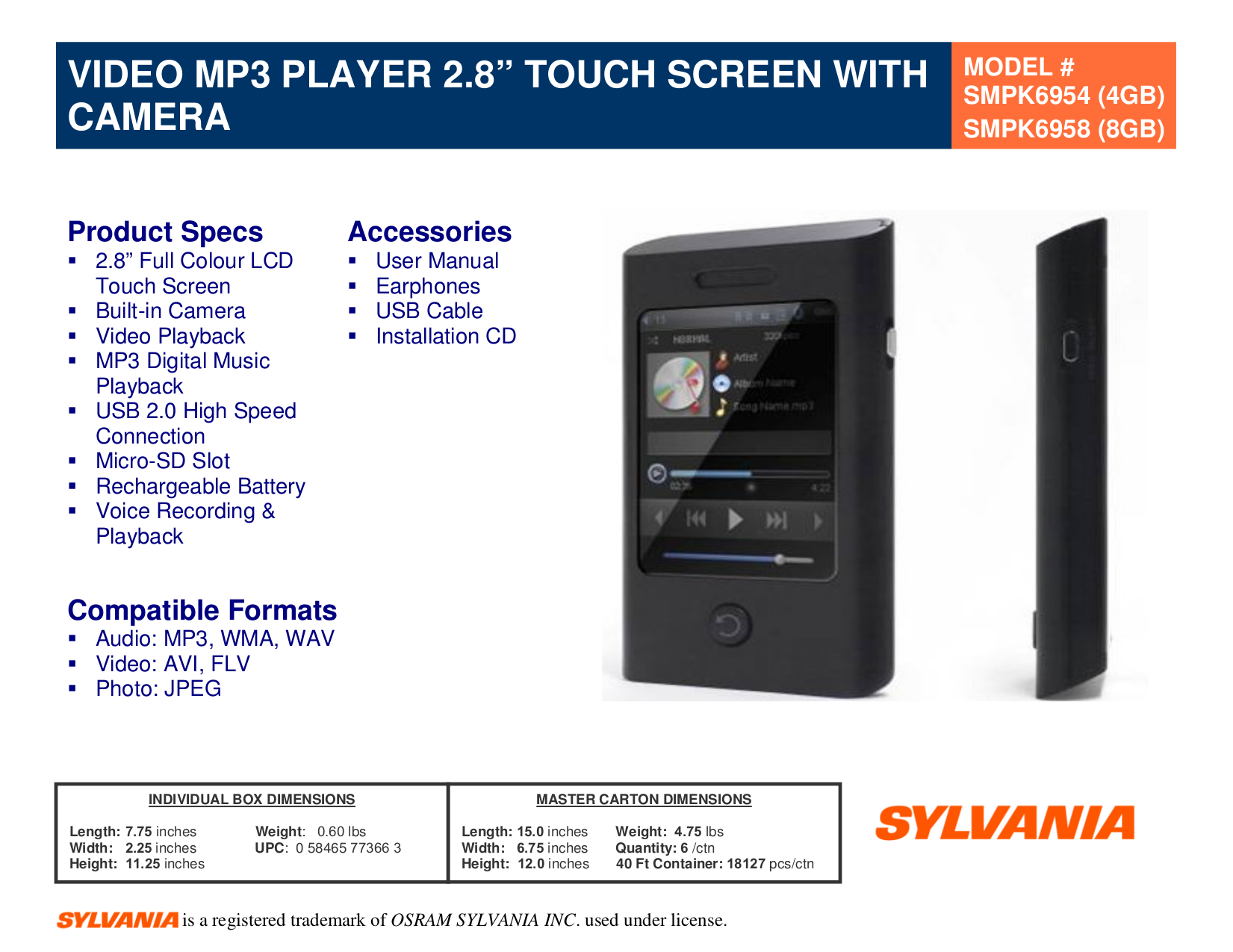 download free pdf for sylvania smpk6958 mp3 player manual rh umlib com Trio MP3 Player sylvania smp2012 2gb mp3 player manual