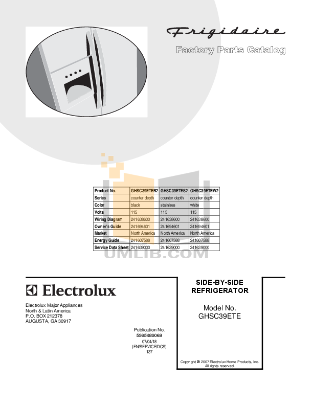 pdf for Frigidaire Refrigerator GHSC39ETES manual