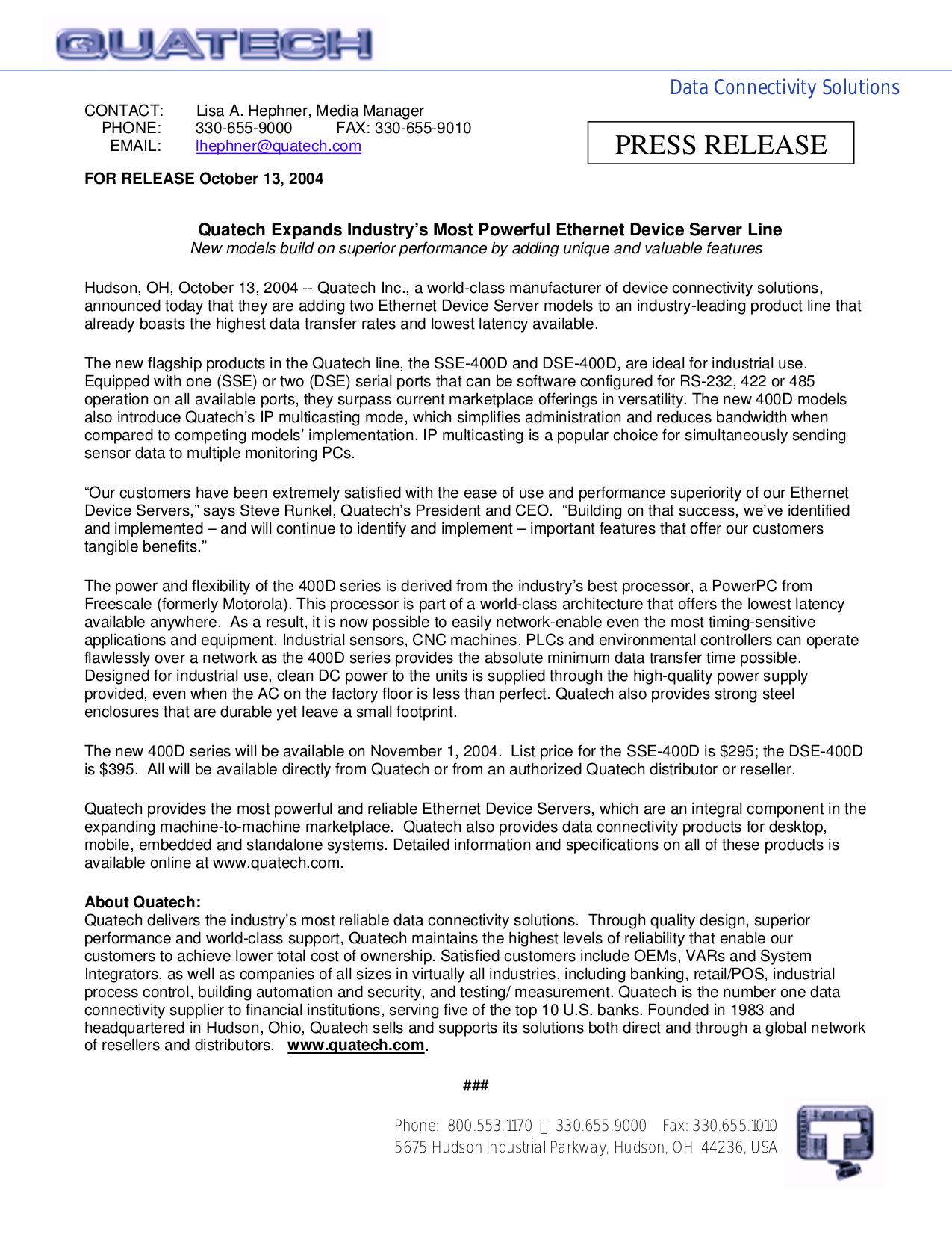 Quatech Other SSE-400D Servers pdf page preview