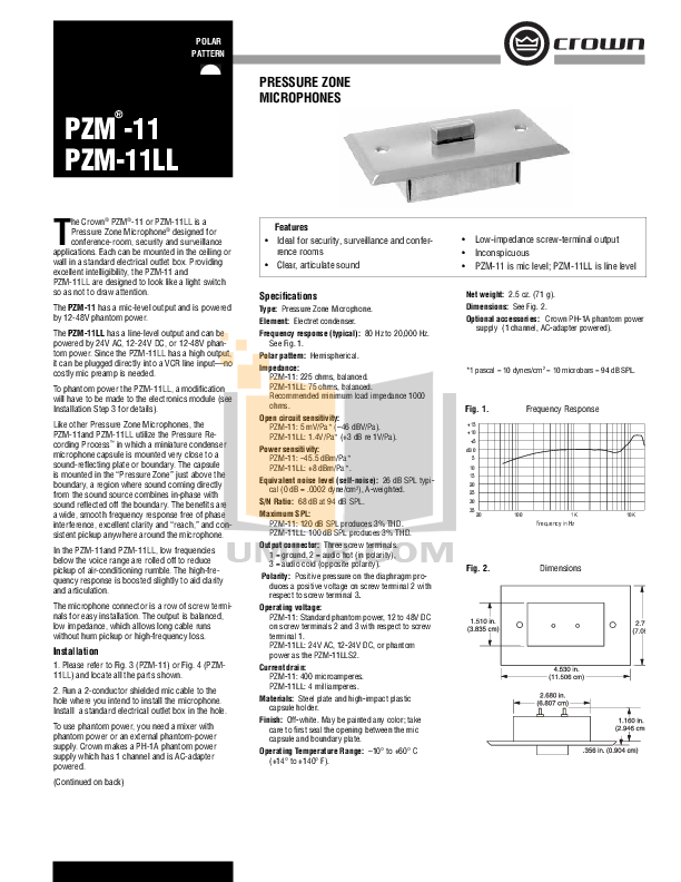 pdf for Crown Other PZM-6R Microphones manual