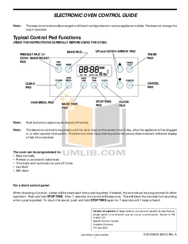 pdf for Frigidaire Range PLGS389ECD manual