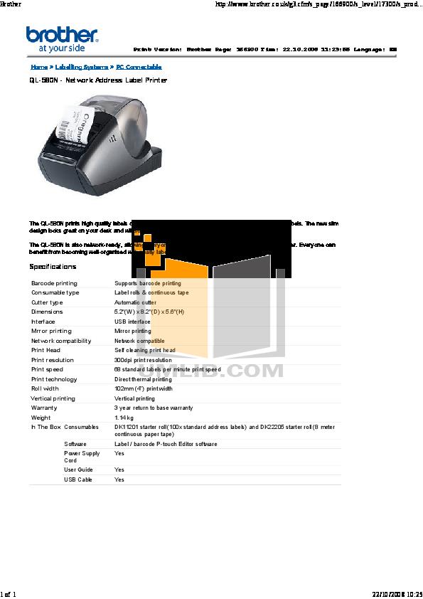 pdf for Brother Printer QL-580N manual