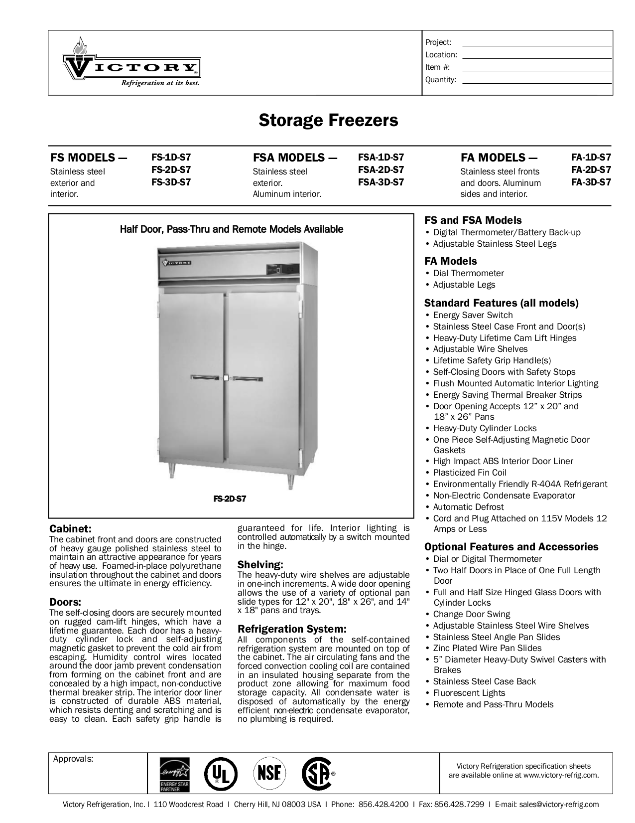 pdf for Victory Freezer FSA-1D-S7 manual