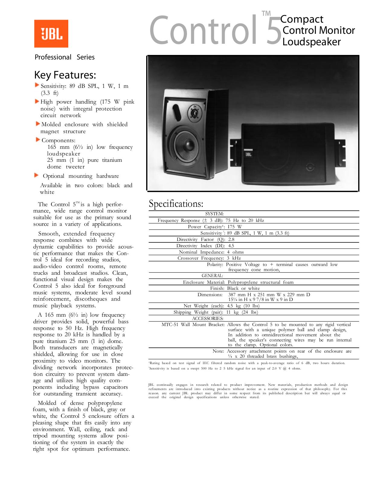 Download Free Pdf For Jbl Control Control 5 Speaker Manual