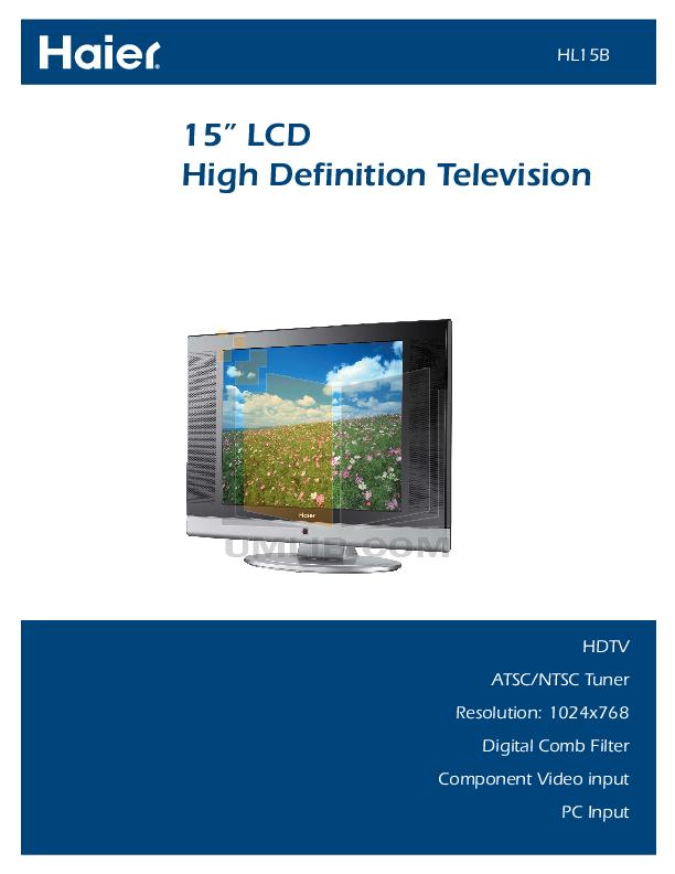 pdf for Haier TV HL15B manual