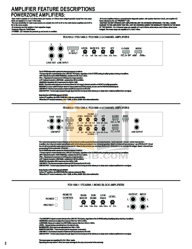 Crunch Car Amplifier PowerZone PZA2000.1 pdf page preview