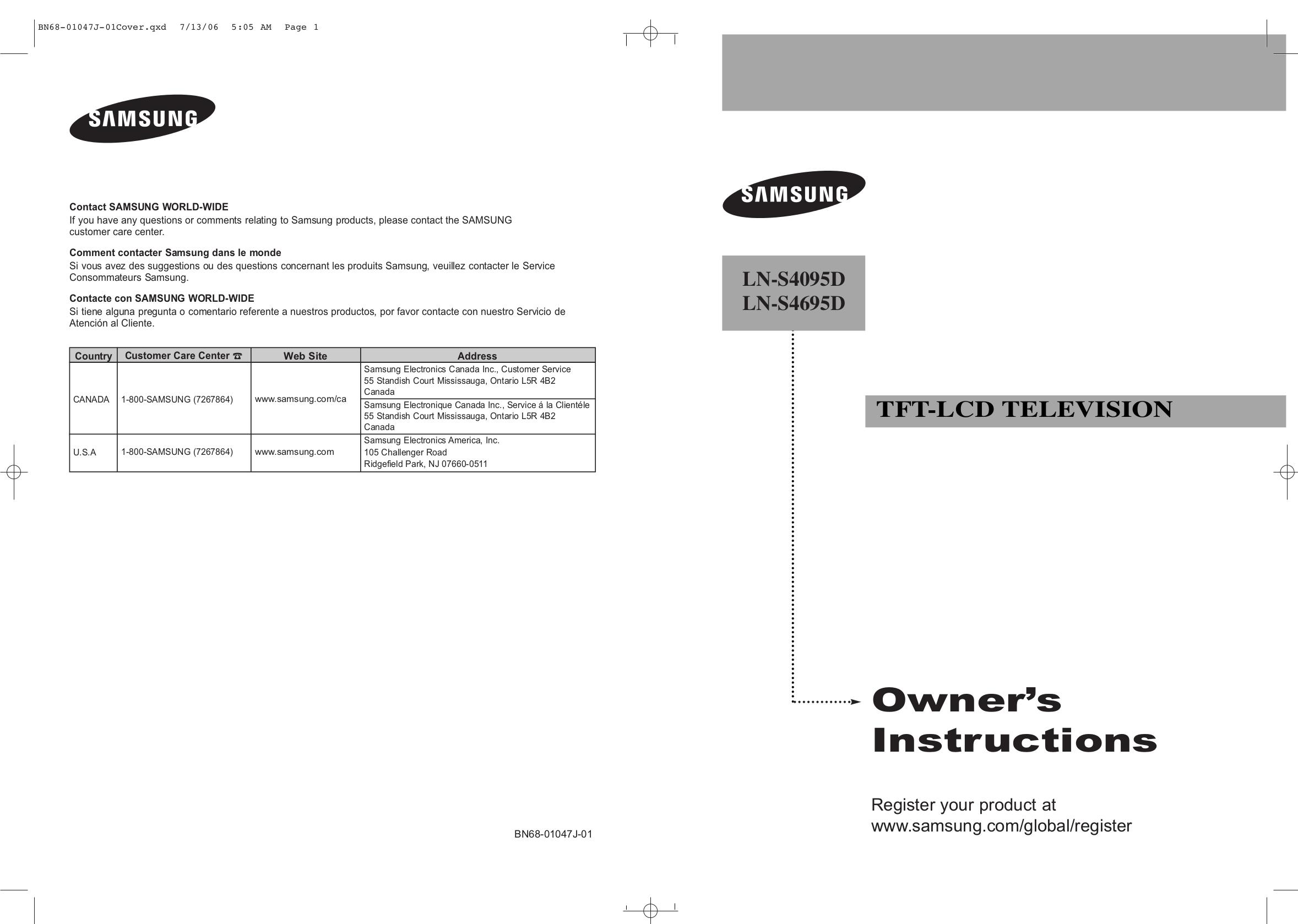 download free pdf for samsung lns4095d tv manual