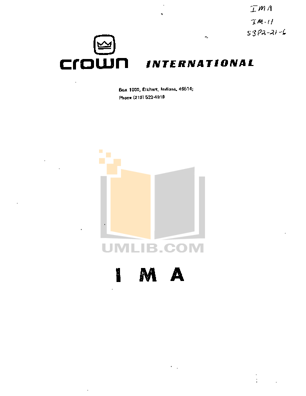 pdf for Crown Other IMA Distortion Analyzers manual