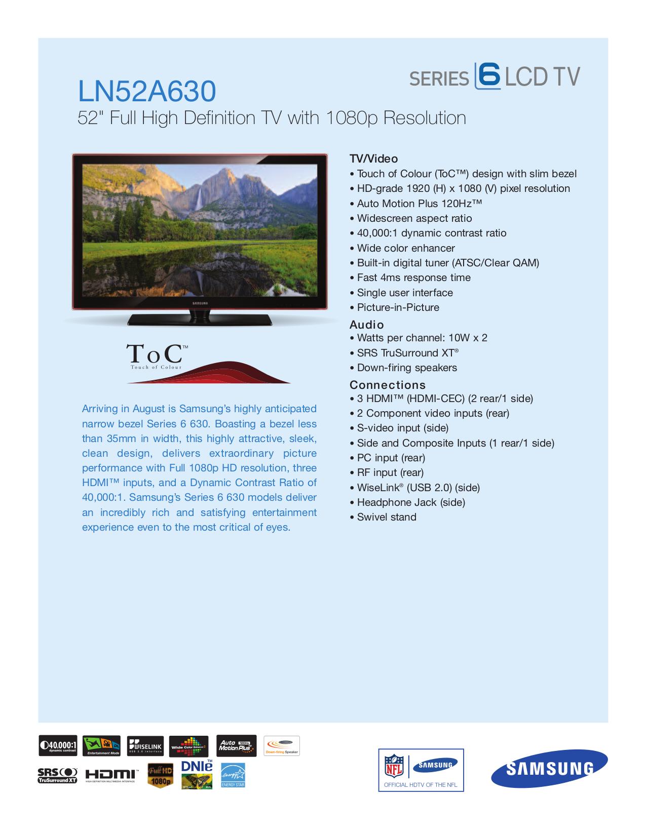 download free pdf for samsung ln52a630 tv manual rh umlib com Samsung Instruction Manual Samsung Owner's Manual