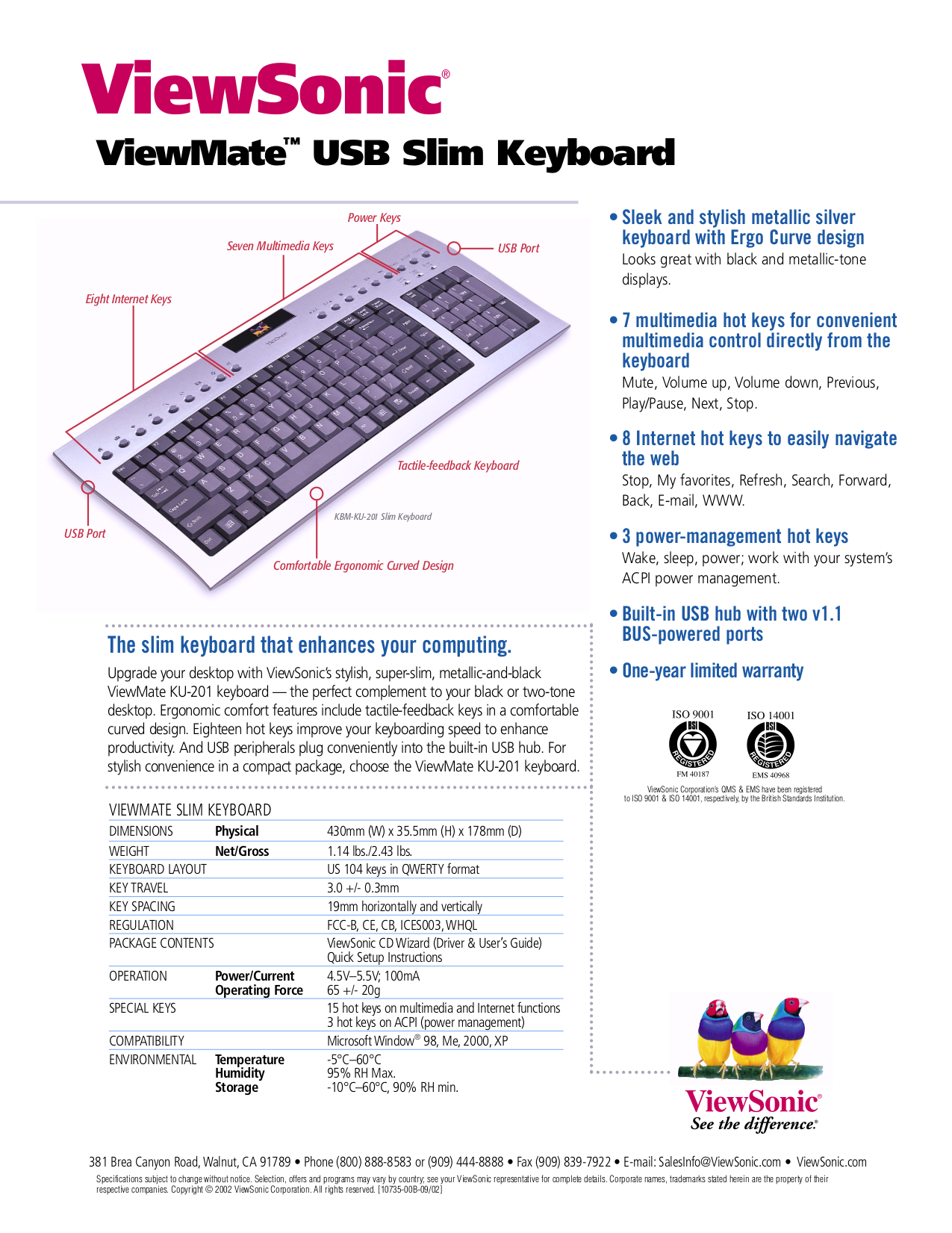 pdf for Viewsonic Other ViewMate KU201 Keyboard manual