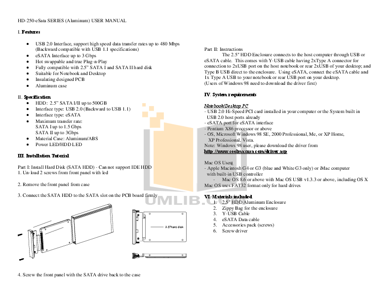 pdf for Coolmax Storage HD-250C-eSATA manual