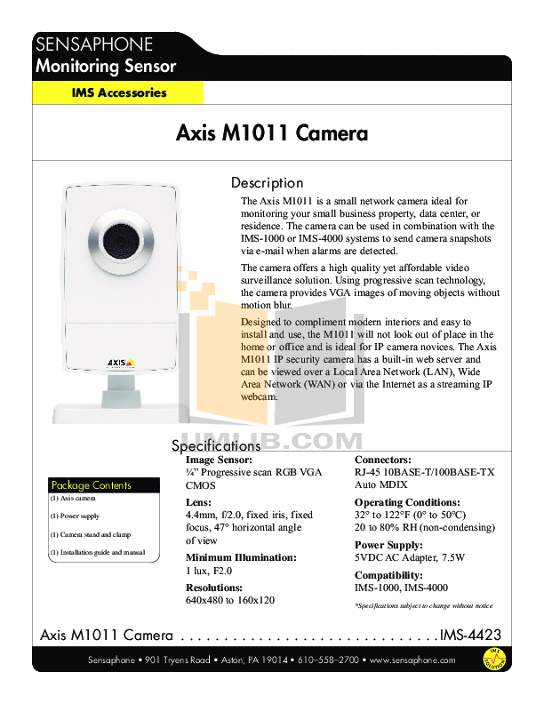 pdf for Axis Security Camera M1011 manual