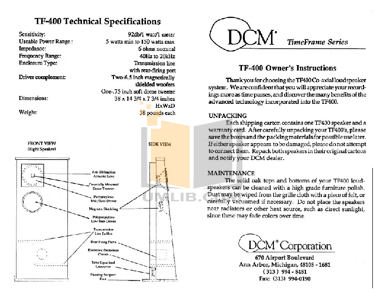 pdf for Dcm Speaker System Time Frame TF400 manual