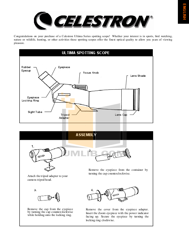 pdf for Celestron Other Ultima 80 Spotting Scope manual