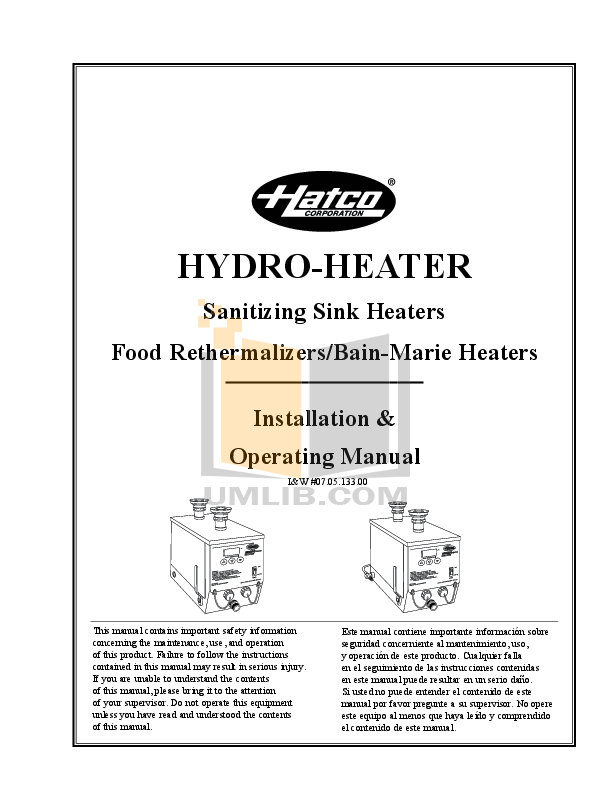 pdf for Hatco Other FR2-3 manual