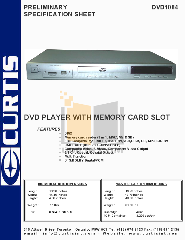 pdf for Curtis DVD Players DVD1084 manual