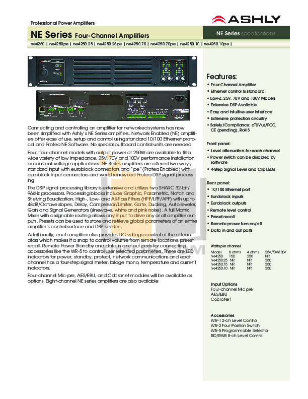 pdf for Ashly Amp NE4250.70 manual