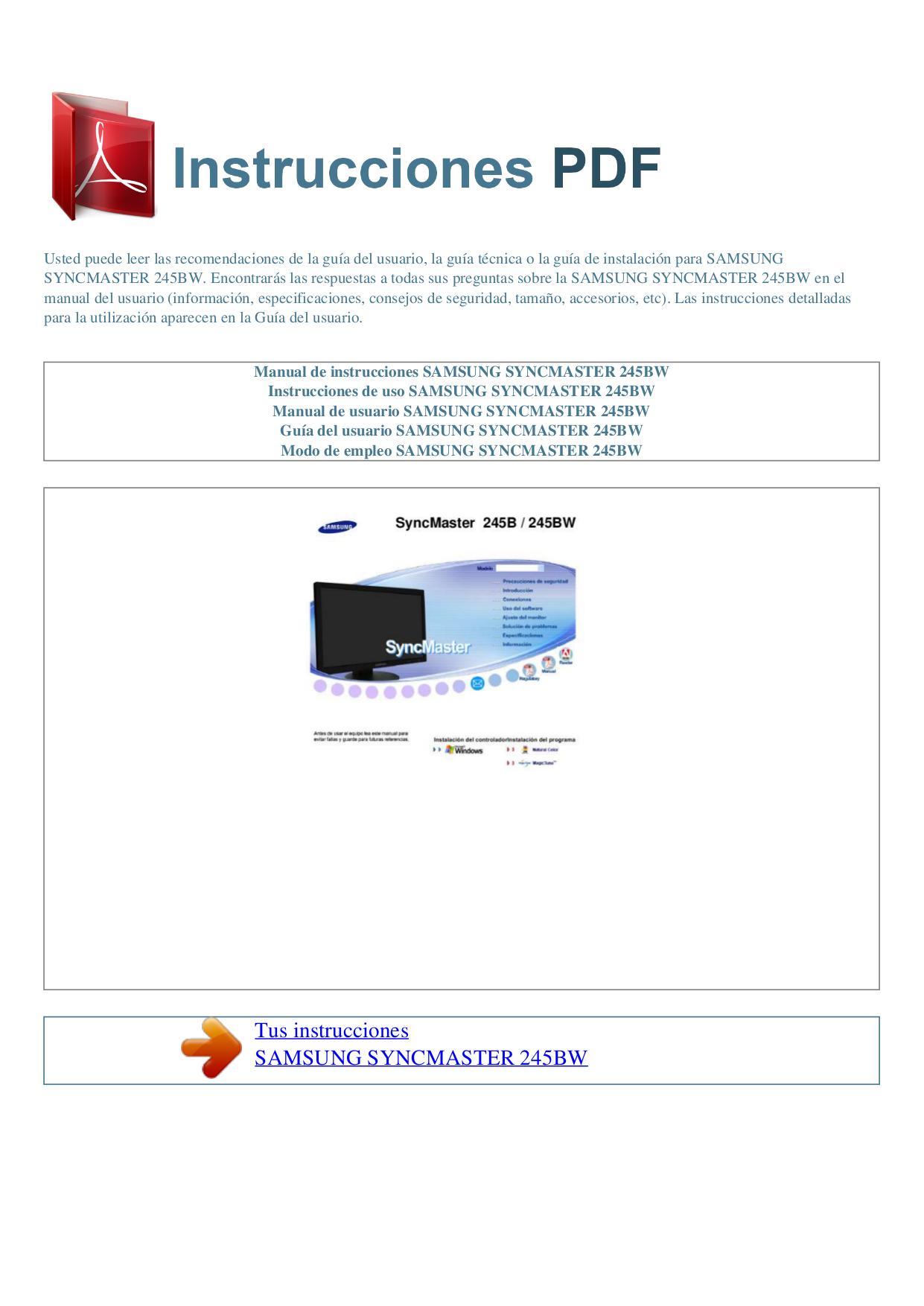 pdf for Samsung Monitor SyncMaster 245BW manual