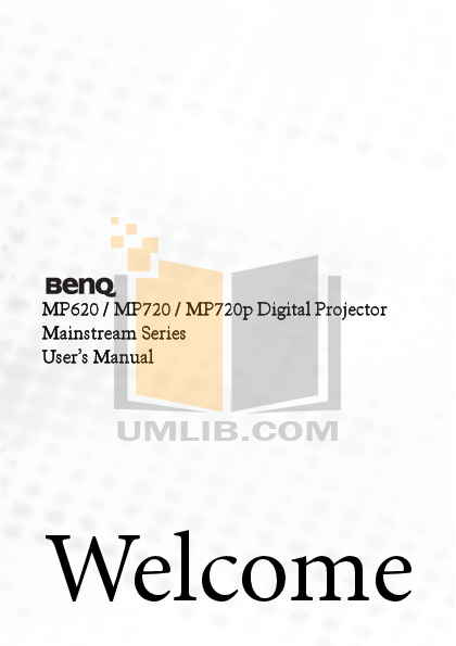 pdf for Benq Projector MP620 manual