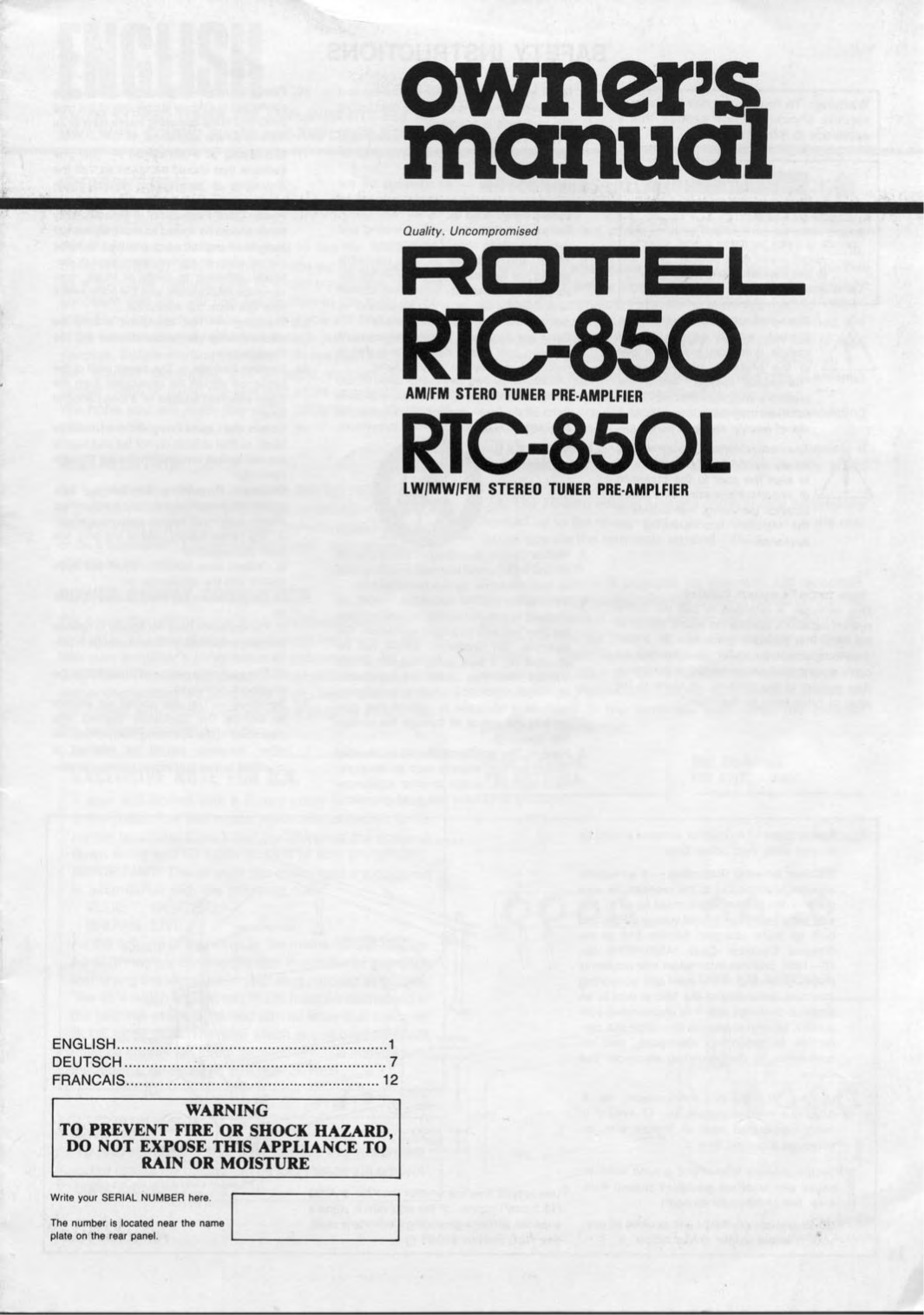 pdf for Rotel Amp RTC-850L manual