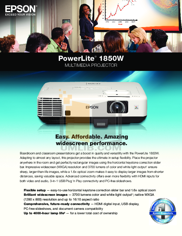 pdf for Epson Projector PowerLite 1850W manual