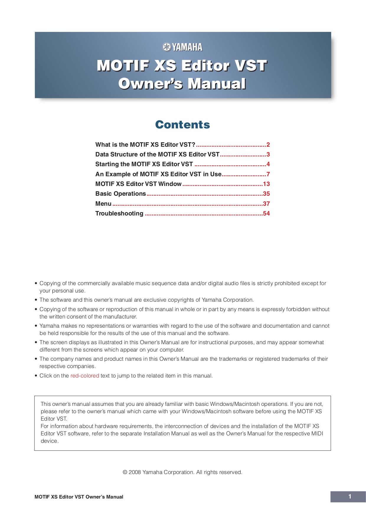 pdf for Yamaha Music Keyboard Motif XS8 manual