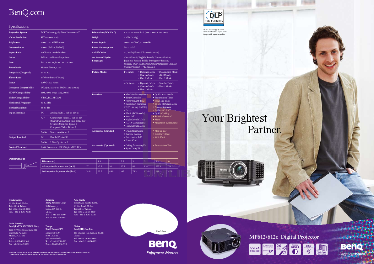 pdf for Benq Projector MP612C manual