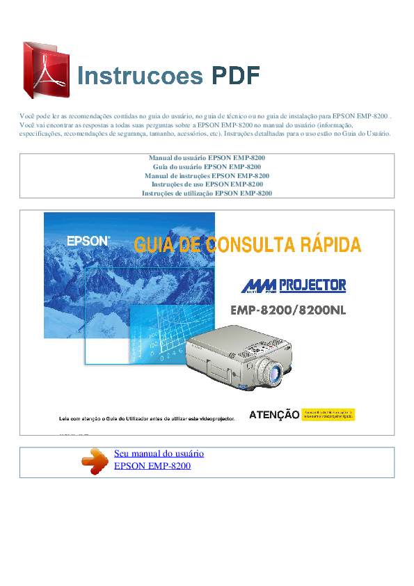 pdf for Epson Projector EMP-8200 manual
