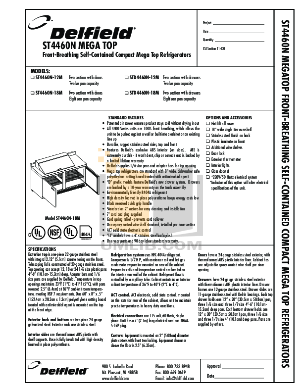 pdf for Delfield Refrigerator ST4460N-18M manual