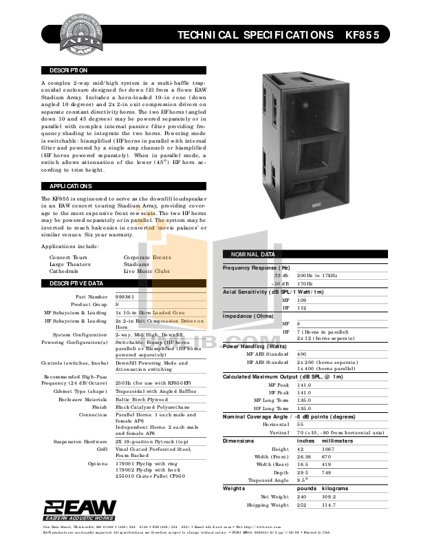 pdf for Eaw Speaker System KF850EF manual
